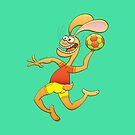 Brave hare playing handball by Zoo-co