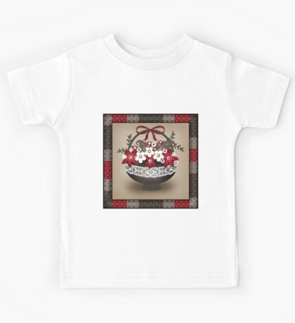 Patchwork modern elements with flowers basket retro spring background Kids Tee