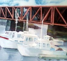 Boats on the Merrimac River by watercolors1