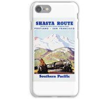 Shasta Route Vintage Travel Poster Restored iPhone Case/Skin