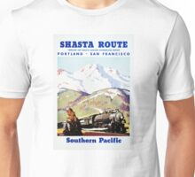 Shasta Route Vintage Travel Poster Restored Unisex T-Shirt