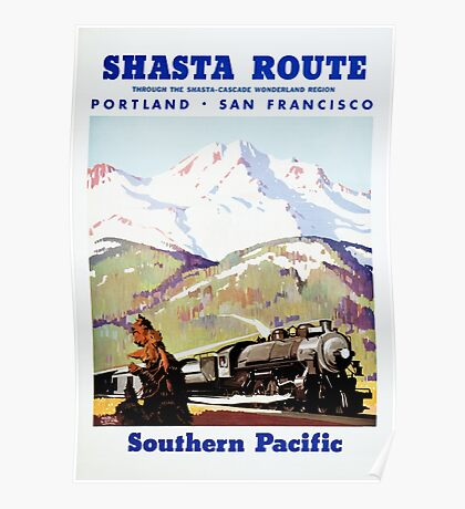 Shasta Route Vintage Travel Poster Restored Poster