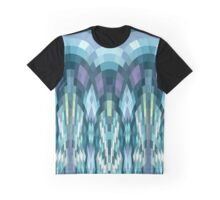 Teal Pixel Waves Graphic T-Shirt