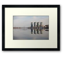 skyscrapers on the river bank Framed Print