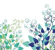 Floral Spring Blue by Silvia Neto