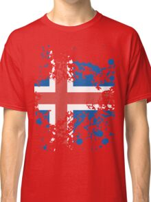 Iceland Flag Ink Splatter Classic T-Shirt