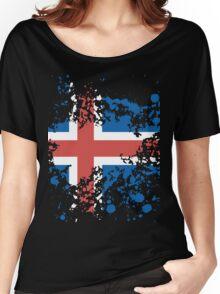 Iceland Flag Ink Splatter Women's Relaxed Fit T-Shirt