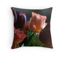 Peach and deep red tulips Throw Pillow