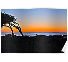Sunset over the Coast of Cambria, California Poster