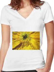 Yellow Poppy Close-up Women's Fitted V-Neck T-Shirt