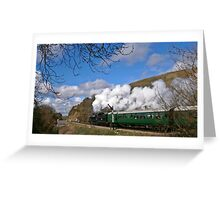 Steam out of Corfe Castle. Greeting Card