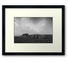 Dramatic monochrome landscape from the Outer Hebrides Scotland UK Framed Print