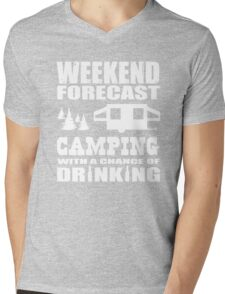 Weekend Forecast Camping with a chance of Drinking Mens V-Neck T-Shirt