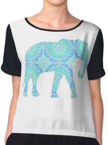 Blue Elephant Chiffon Top
