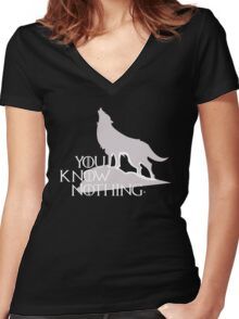 You Know Nothing - GOT Women's Fitted V-Neck T-Shirt