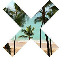 X Palm Tree Beach Photographic Print