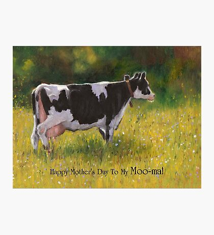 Mother's Day Card with Cow, Humor, To My Moo-ma Photographic Print