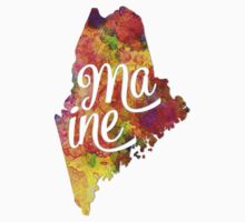 Maine US State in watercolor text cut out One Piece - Long Sleeve