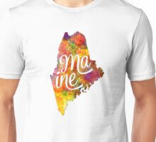 Maine US State in watercolor text cut out Unisex T-Shirt
