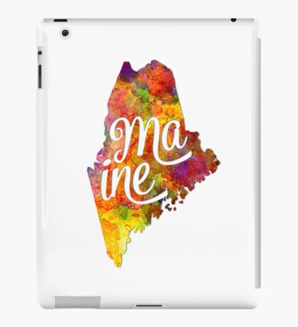 Maine US State in watercolor text cut out iPad Case/Skin