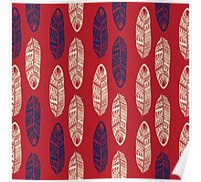 Yellow & Blue Leaves Red Pattern Poster
