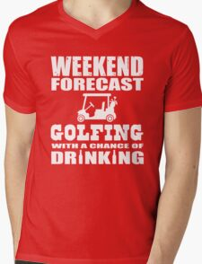 Weekend Forecast Golfing with a chance of drinking Mens V-Neck T-Shirt