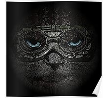 Sulky Steampunk Moggie with Goggles and Attitude Poster