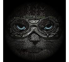 Sulky Steampunk Moggie with Goggles and Attitude Photographic Print