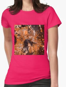Rusting Darkness - Abstract in gold, black and white Womens Fitted T-Shirt