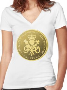 Queen's 90th Birthday Women's Fitted V-Neck T-Shirt