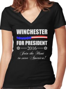 Supernatural SPN 2016 Election Parody Women's Fitted V-Neck T-Shirt