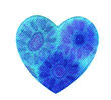 Blue tye dye heart Photographic Print