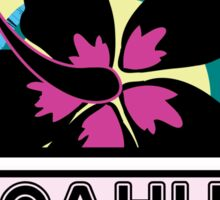 OAHU Hawaii Hibiscus Flower Wave Travel Vacation Decal Pink Green Sticker