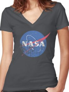 Distressed Nasa Logo Women's Fitted V-Neck T-Shirt