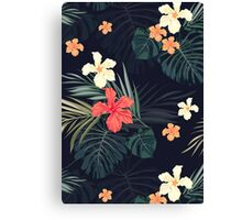 Dark tropical flowers Canvas Print