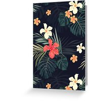 Dark tropical flowers Greeting Card
