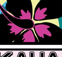 KAUAI Hawaii Hibiscus Flower Wave Travel Vacation Decal Pink Green Sticker