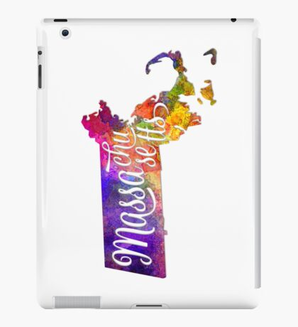 Massachusetts US State in watercolor text cut out iPad Case/Skin
