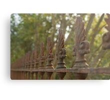Old rusty fence in autumn Metal Print