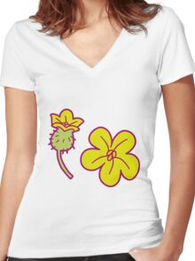 Watermelon Blossoms Women's Fitted V-Neck T-Shirt