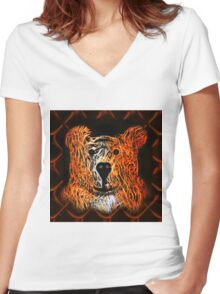 Kindly Bear Women's Fitted V-Neck T-Shirt