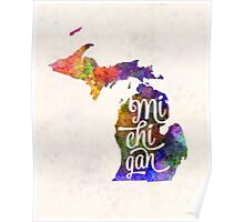 Michigan US State in watercolor text cut out Poster