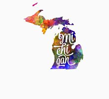 Michigan US State in watercolor text cut out T-Shirt