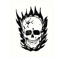 Cracked and Blazing Skull Art Print