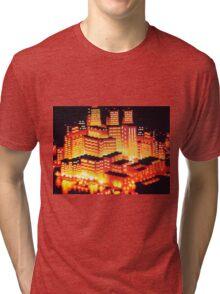 8-bit pixel cityscape Tri-blend T-Shirt