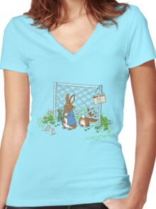Peter's Backyard Bargains - Gardening with Rabbits! Women's Fitted V-Neck T-Shirt