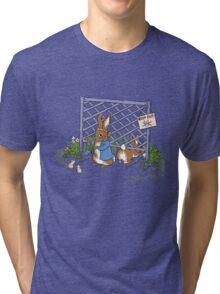 Peter's Backyard Bargains - Gardening with Rabbits! Tri-blend T-Shirt