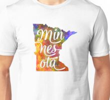 Minnesota US State in watercolor text cut out Unisex T-Shirt