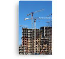 tower cranes on construction site Canvas Print