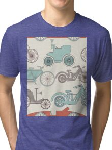Seamless pattern with vintage cars and bikes Tri-blend T-Shirt